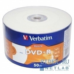 Диск DVD-R Verbatim 4.7 Gb 16x DataLife Inkjet Printable Shrink (50 шт) (43793)